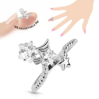 Stars Multi-Paved CZ Gems Adjustable Nail Ring / Toe Ring