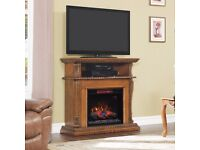 """Corinth Wall/Corner Fireplace TV Stand in Premium Oak with 23"""" Infrared Electric Fire - New"""