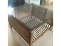 Glass and cane square coffee table