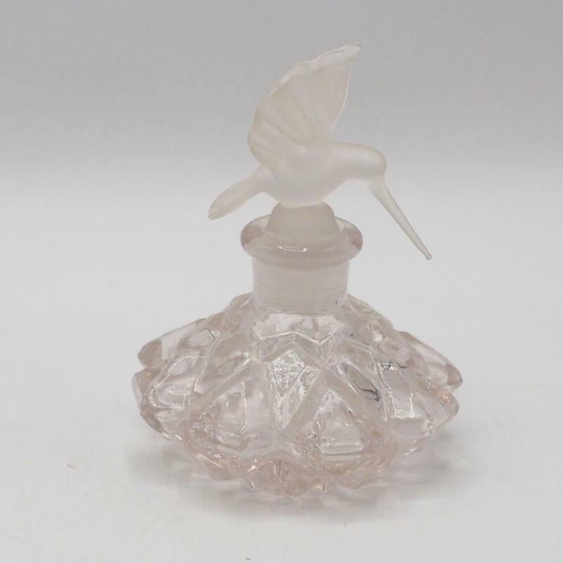 Vintage Glass Perfume Bottle with Stopper Hummingbird Design