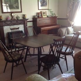 ERCOL DINING TABLE & 6 CHAIRS