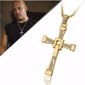 Gold Cross Crystal Pendant Chain The Fast and Furious Dominic Toretto's Necklace