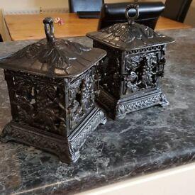 antique cast iron lanterns, matching pair