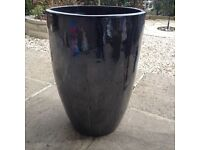 Lovely Tall Large Mirror Shine Siver Black/Grey Plantpot