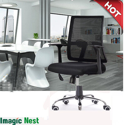 New Ergonomic Mid-back Mesh Fabric Back Computer Office Chair Desk Swivel Black