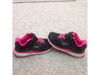 Black and pink trim girls trainers - size 12, from Decathlon