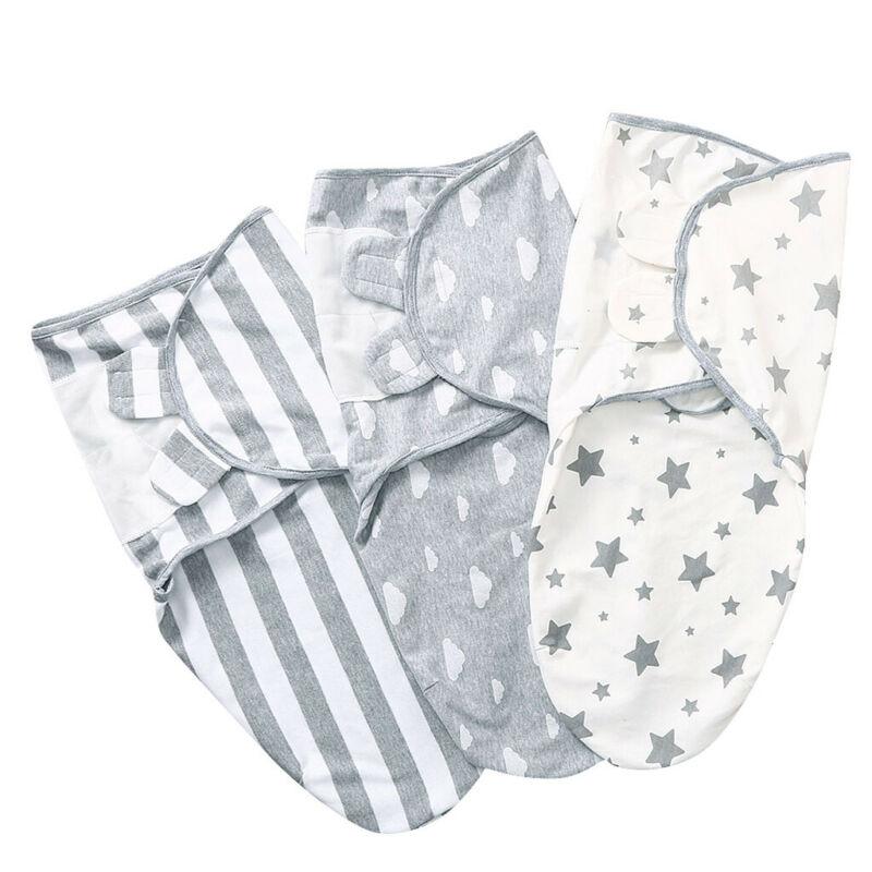 Newborn Infant Baby Swaddle Wrap Blanket Cotton Stars Stripe