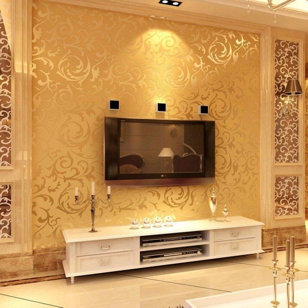Gold 3d Victorian Damask Embossed Wallpaper In Castle
