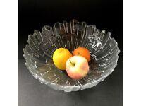 Retro Vintage 1970's Ravenhead flair ice bark Glass Bowl
