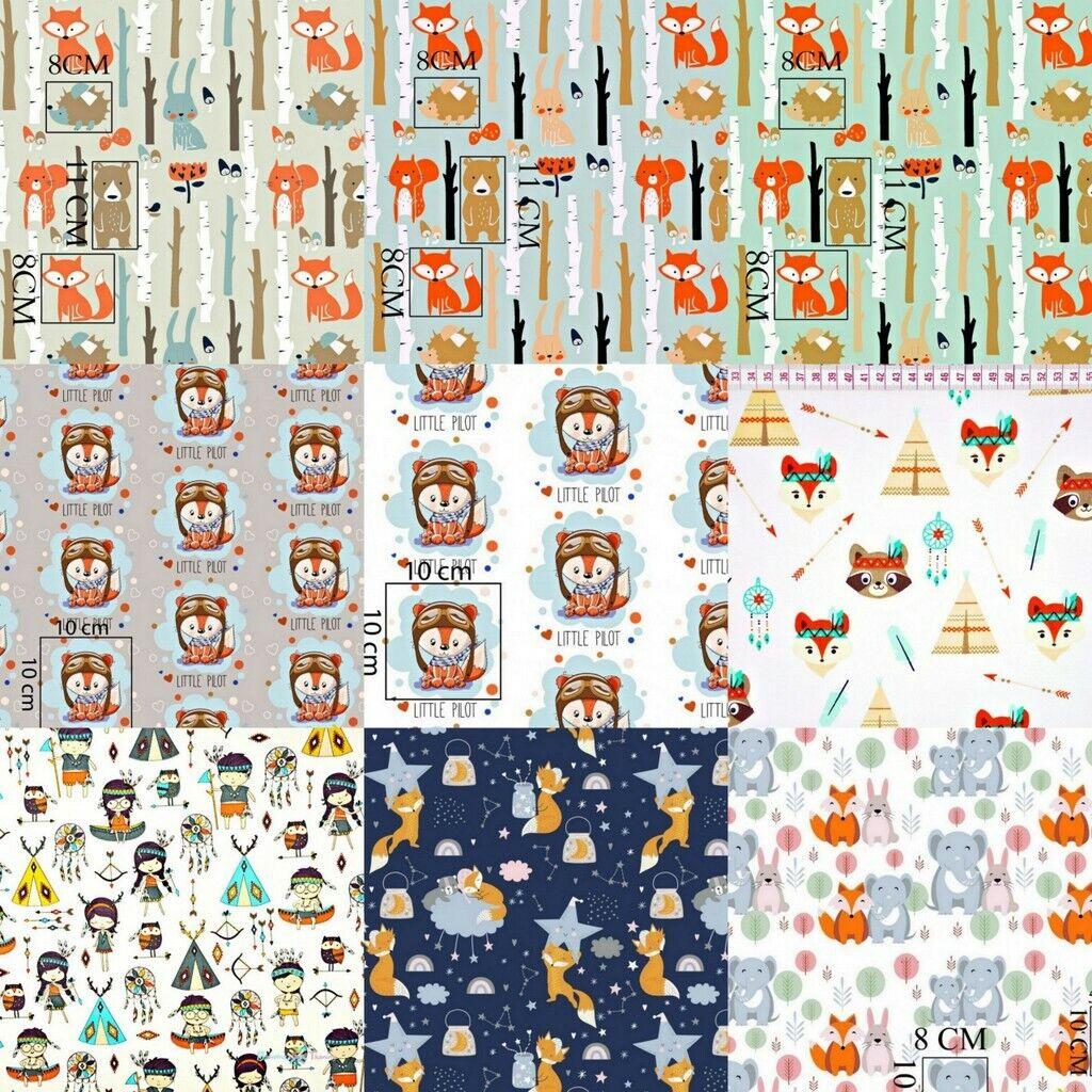 Baumwollstoff Baumwolle Stoff Fuchs Indianer Meterware Kind 150cm breit 7,98m
