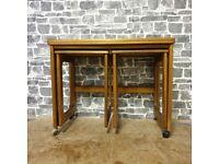 Vintage McIntosh Teak Nest Of Tables, Triform Swivel Top, Mid-century