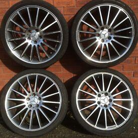 Mercedes Benz C Class w204 w205 19 inch split width amg style alloy wheels & good tyres wider rears