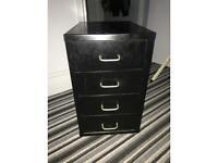 Black metal drawers