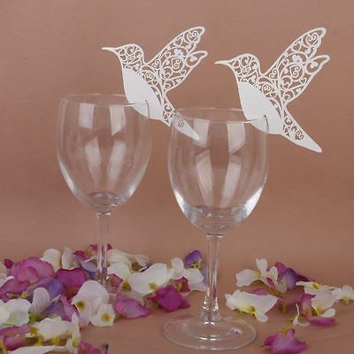 Party Place Cards (50 Humming Birds Wedding Table Name Place Cards Wine Glass Party)