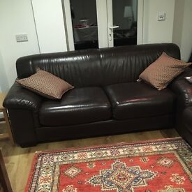 1 Genuine leather brown sofas(3 sweaters) excellent condition