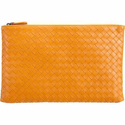 Intrecciato Nappa Flat Zip Case Travel Wallet Clutch Bag - Genuine Leather - Travel Wallet Clutch