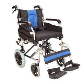 Lightweight folding deluxe aluminium transit wheelchair with handbrakes ECTR02