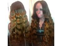 "Gorgeous 28"" Dip Dye Ombre Virgin Hair Lace Closure Wig"