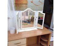 White swivel dressing table mirror