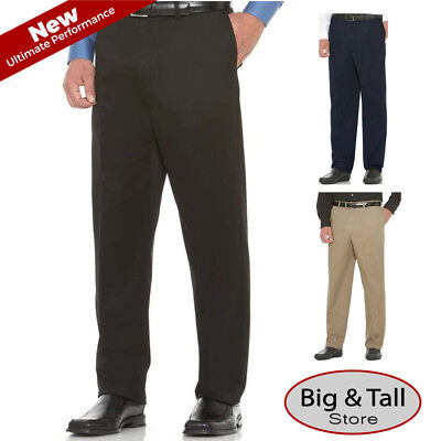 - Big & Tall Savane Ultimate Performance Flat Front Casual Pants Expandable Waist
