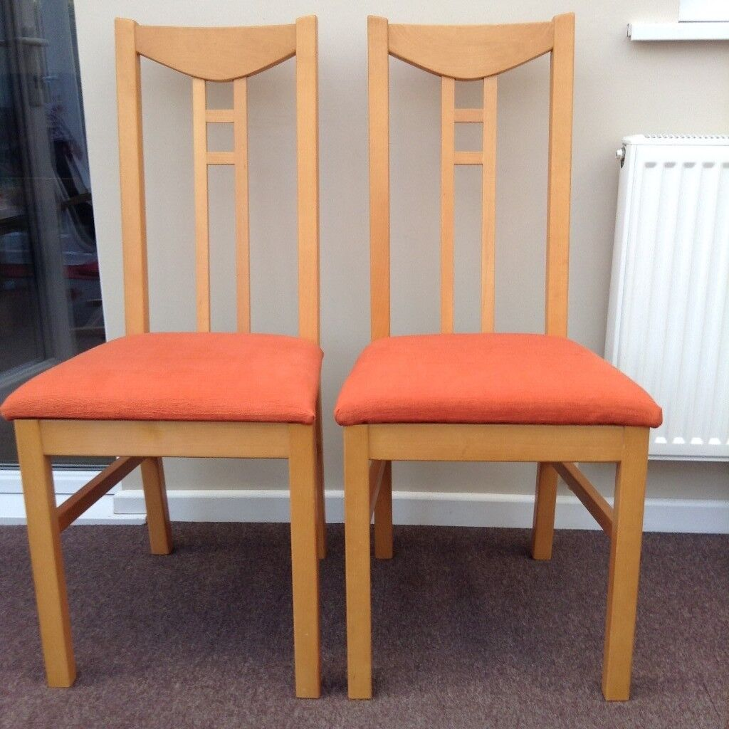 2 Orange Ikea Chairs Very Good Condition Newly Covered Can Deliver Locally If Required