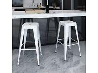 Bar Stools 2 pcs White Steel-240925