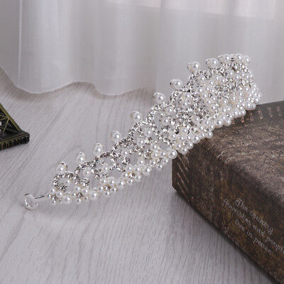Vintage Bride Crown Wedding Jewelry Tiara Faux Pearl Bridal Ornament - Fake Crown