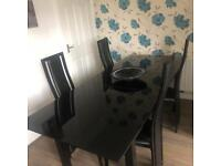 4-8 seat glass dining room table & chairs (4 chairs)