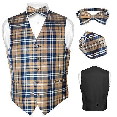 Men's Plaid Design Dress Vest BOWTie Navy BROWN White BOW Tie Hanky Set Suit Tux (Mens Brown Vest)