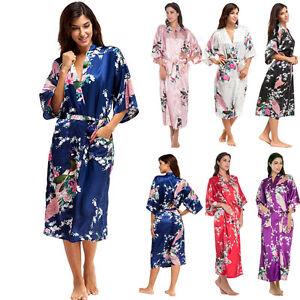Mujer-Pavo-Real-Largo-Dama-De-Honor-Boda-Kimono-Bata-Saten-Noche-Vestido-pijama