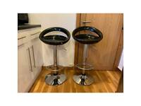 Black and chrome breakfast bar stools (x2)