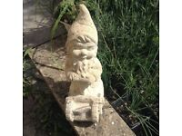 REDUCED! High Quality Garden Gnome, weathered STONE, no cracks, no chips- H: 35 cm = 13 inches