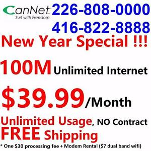 100M unlimited internet only $39.99/month with dual band +modem combo included, NO CONTRACT, Free shipping
