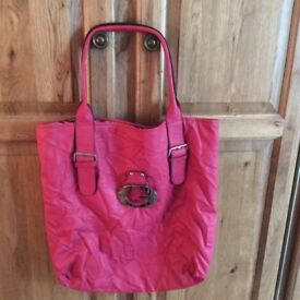 New Genuine Guess Bag - ruched style, raspberry colour