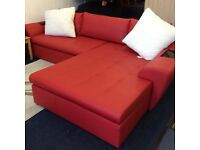 Large red faux leather corner sofa bed