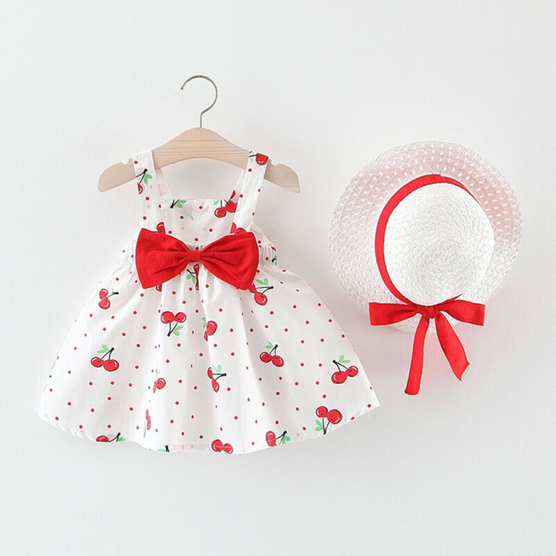 Toddler Baby Kids Girls Sleeveless Cherry Dot Princess Dresses Bow Hats Outfits