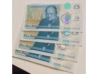 £5 notes with rare AA09 serials.