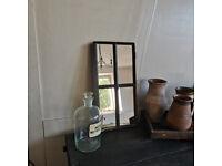 Fantastic Rustic Antique Cast Iron Small Barn Window c1940 Restored w/Mirrors