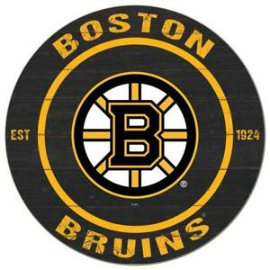 Boston Bruins 20 Inch Round Logo Design Wooden Wall Sign (New)