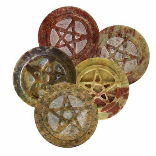 "Stone Pentagram Altar Tile 3"" NEW Carved Soapstone Pentacle - ONE Piece"