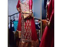 Heavy stone work long dress anarkali in dusty pink asian wedding bridal mehendi bridesmaid outfit
