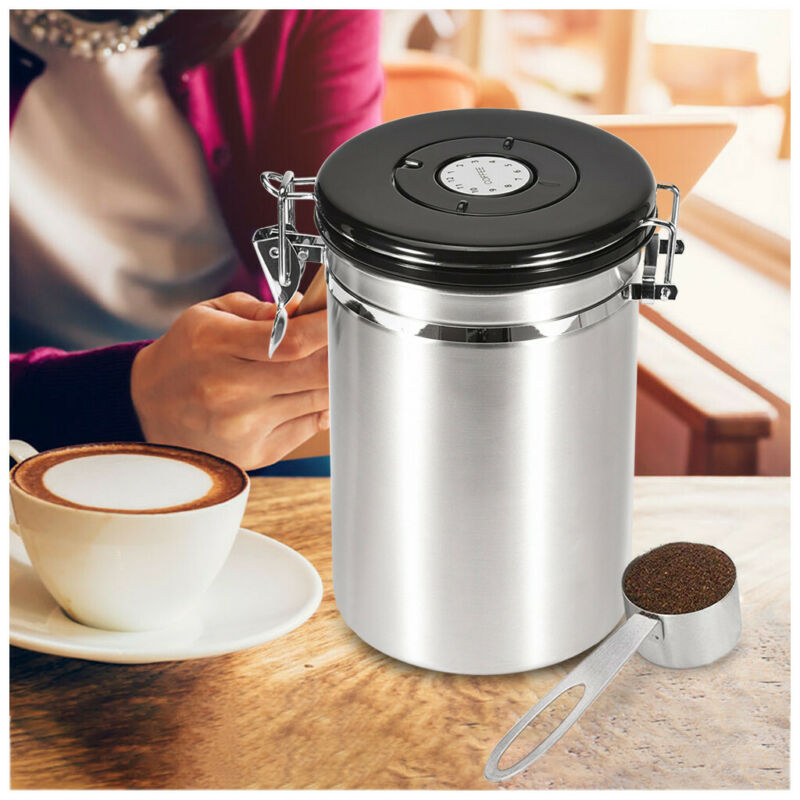 Coffee Stainless Steel Big Airtight Storage Container Canist