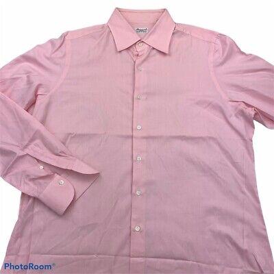 Finamore 1925 Napoli Mens Dress Shirt Pink Point Collar 100% Cotton 17.5 44