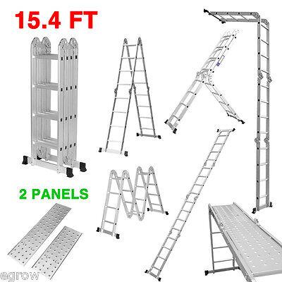 330lb 12.1 15.5 Ft Step Platform Multi Purpose Aluminum Folding Scaffold Ladder