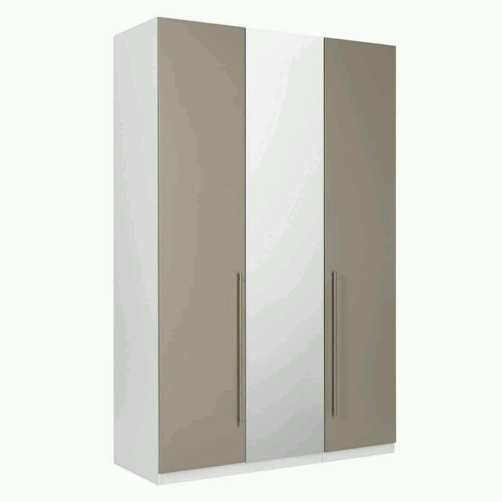 John Lewis Mix it Tall Mirrored Triple Wardrobe, Matt Mocha/Matt White