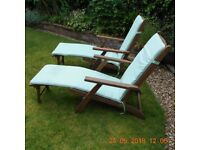 2 nos. HARDWOOD 'STEAMER' CHAIRS COMPLETE WITH FULL SIZE SEAT COVERS.
