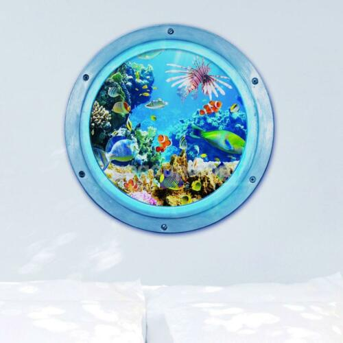 3d underwater world wall sticker removable decal kids room for Sticker mural 3d