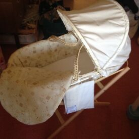 Moses basket, Stand and unused mattress covers,