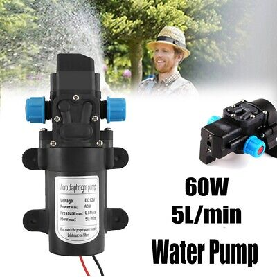 60W 110PSI Water Pump 12V High Pressure Wash Diaphragm Self Priming 5L/min
