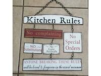 Kitchen rules sign funny metal sign wall art picture